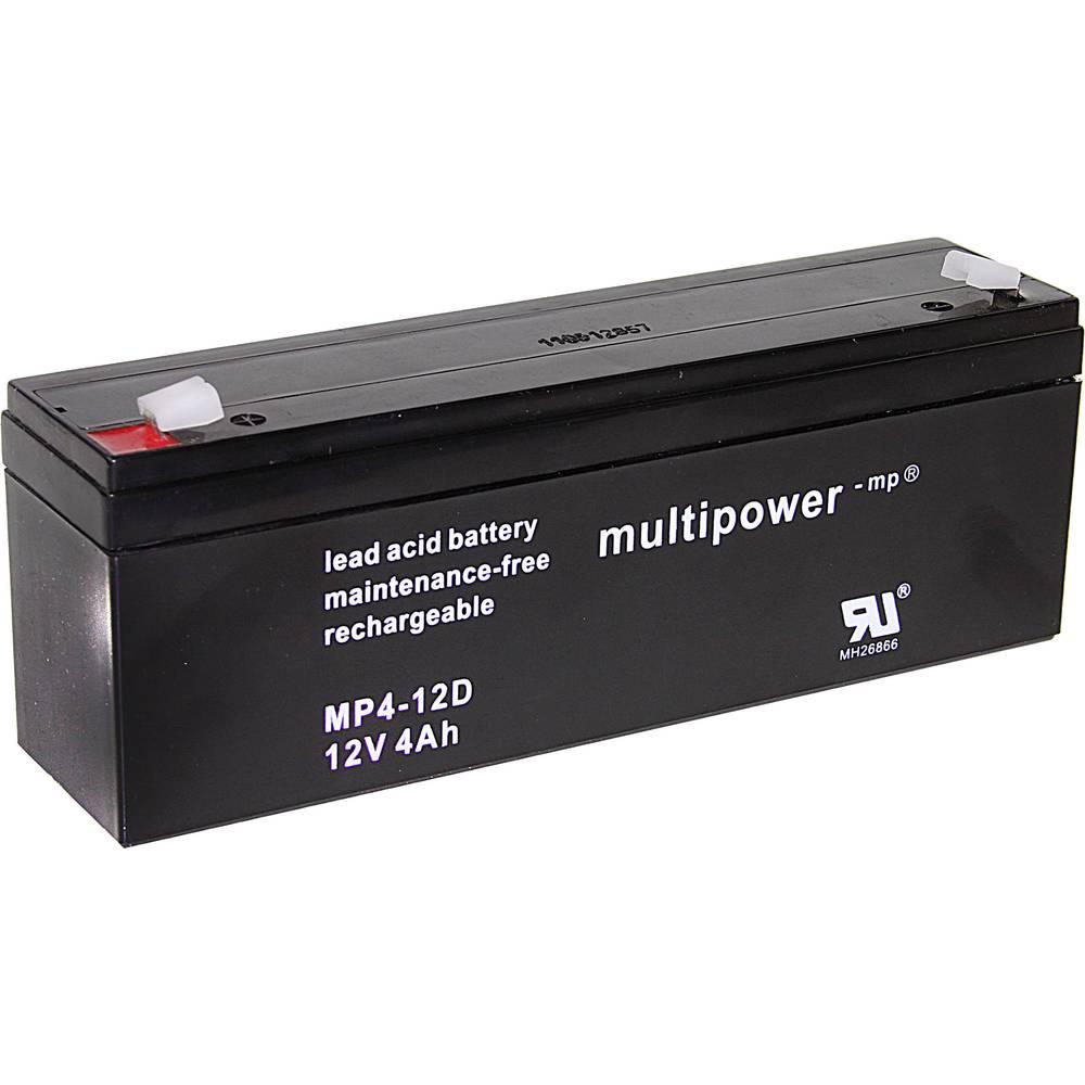 Svinčev akumulator 12 V 4 Ah multipower MP4-12D A97402 svinčevo-koprenast (AGM) 195 x 76 x 47 mm ploščati vtič 4.8 mm