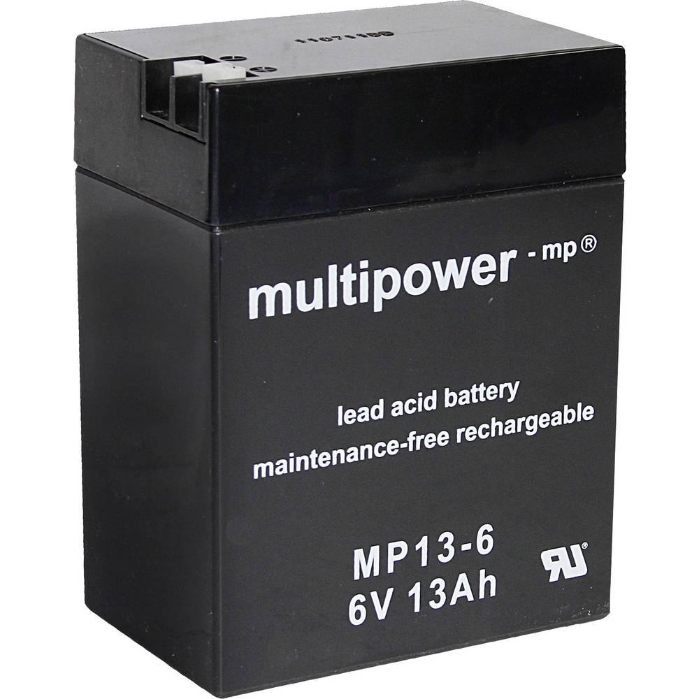 Olovni akumulator 6 V 13 Ah multipower MP13-6 A96801 olovo (AGM) (Š x V x DB) 108 x 140 x 70 mm plosnati utikač 4.8 mm, plosnati
