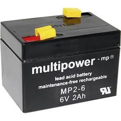 Olovni akumulator 6 V 2 Ah multipower MP2-6 A9620 olovo (AGM) (Š x V x DB) 75 x 53 x 51 mm plosnati utikač 4.8 mm bez održavanja
