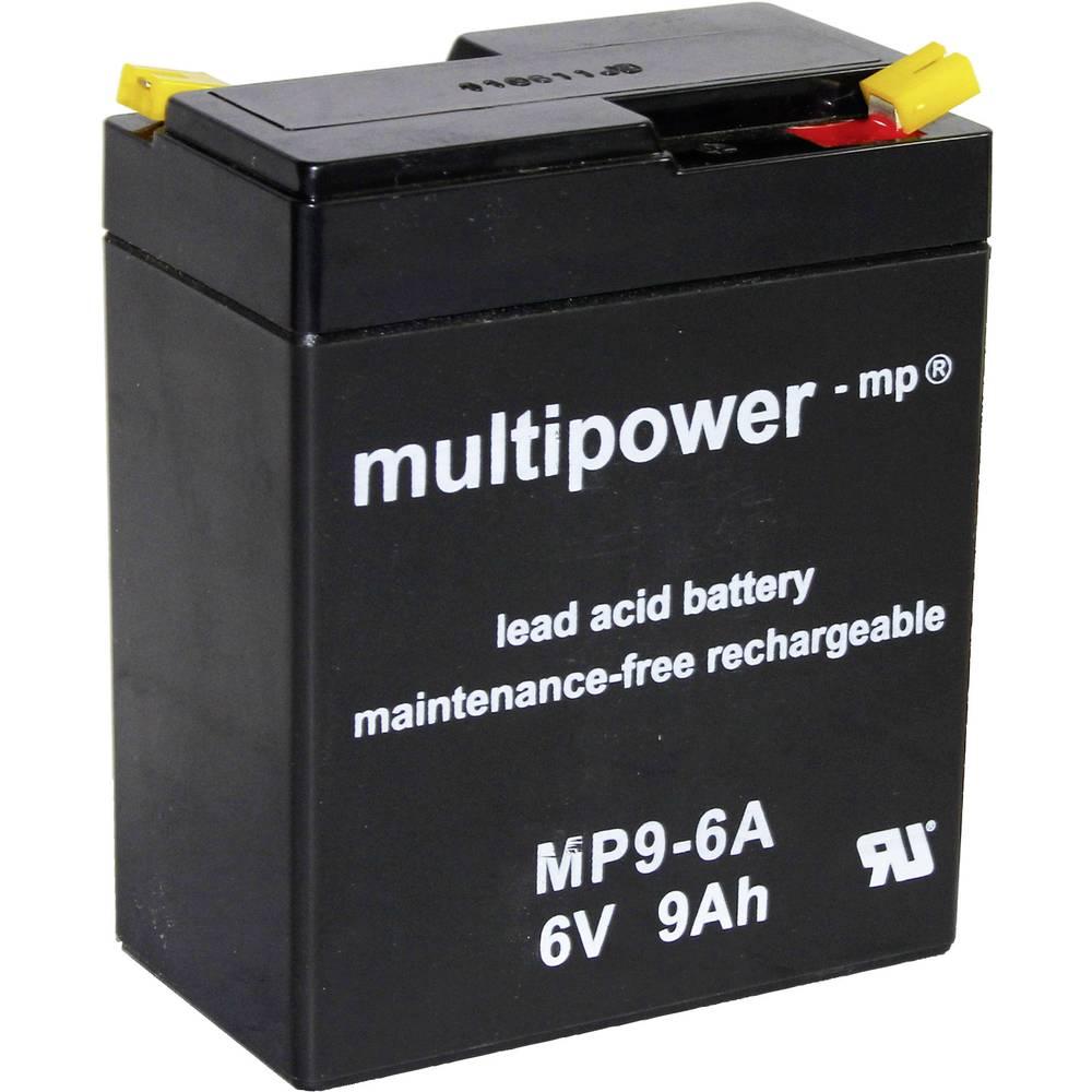 Svinčev akumulator 9 Ah multipower MP9-6A A9680 svinčevo-koprenast (AGM) 97 x 118 x 56 mm ploščati vtič 4.8 mm brez vzdrževanja