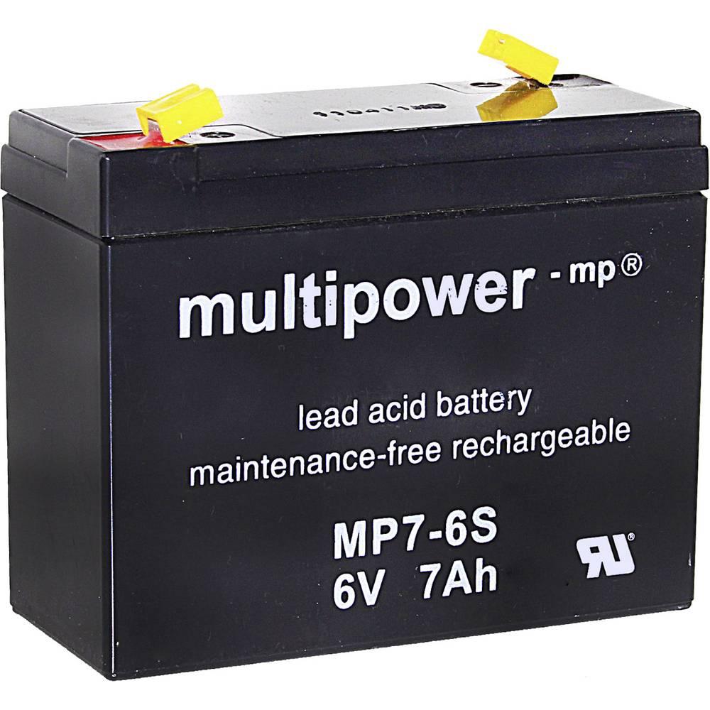 Svinčev akumulator 7 Ah multipower MP7-6S 300402 svinčevo-koprenast (AGM) 116 x 99 x 50 mm ploščati vtič 4.8 mm brez vzdrževanja