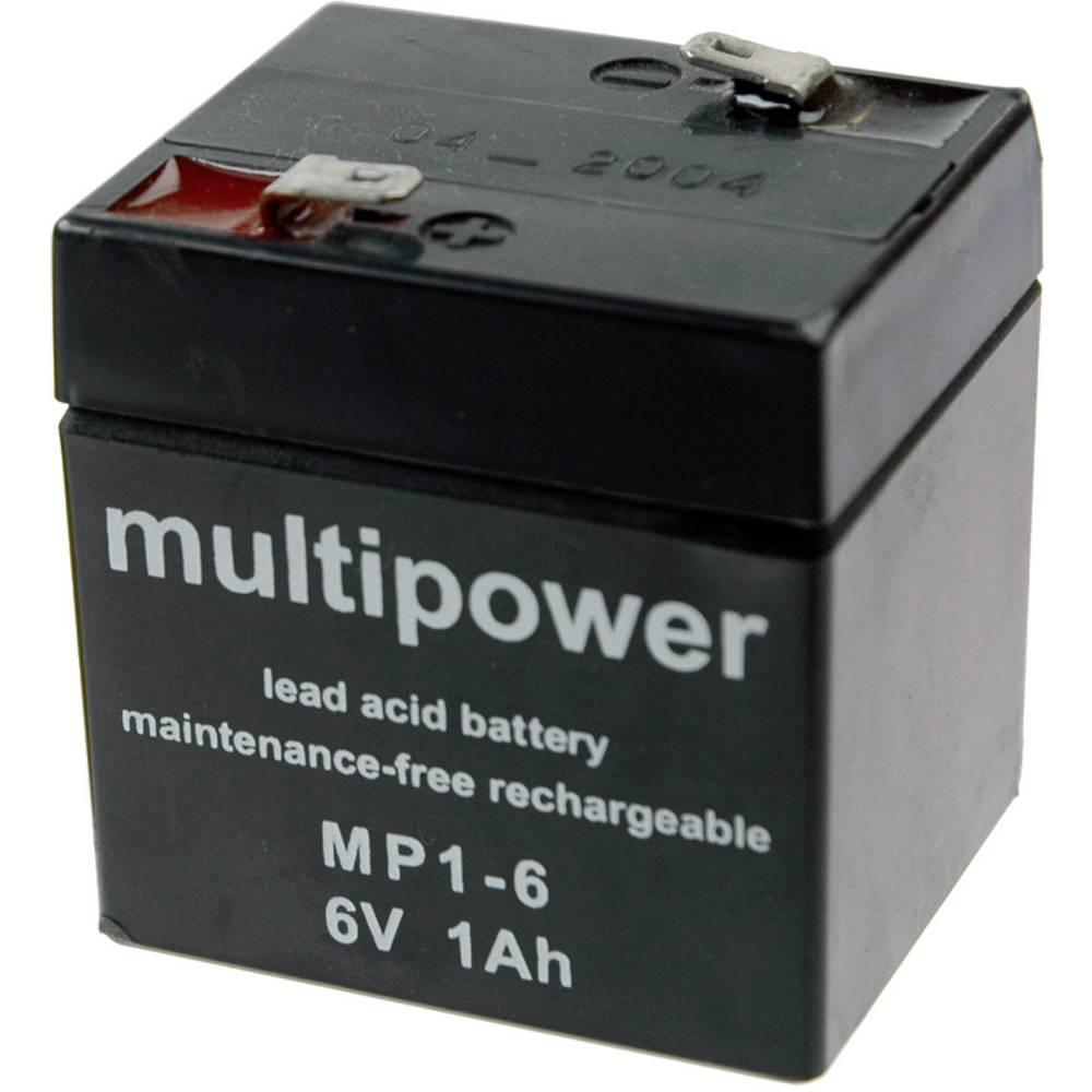 Svinčev akumulator 1 Ah multipower MP1-6 MP1-6 svinčevo-koprenast (AGM) 51 x 55 x 42 mm ploščati vtič 4.8 mm brez vzdrževanja
