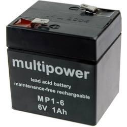 Olovni akumulator 1 Ah multipower MP1-6 MP1-6 olovo (AGM) (Š x V x DB) 51 x 55 x 42 mm plosnati utikač 4.8 mm bez održavanja, ne
