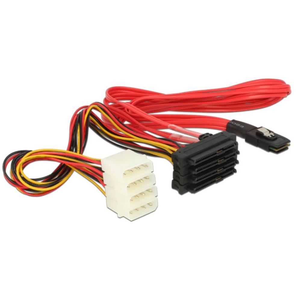 Priključni kabel za tvrdi disk Delock [1x mini SAS utikač (SFF-8087) - 4x SATA kombinirani utikač 7+15-polni, IDE struja utikač