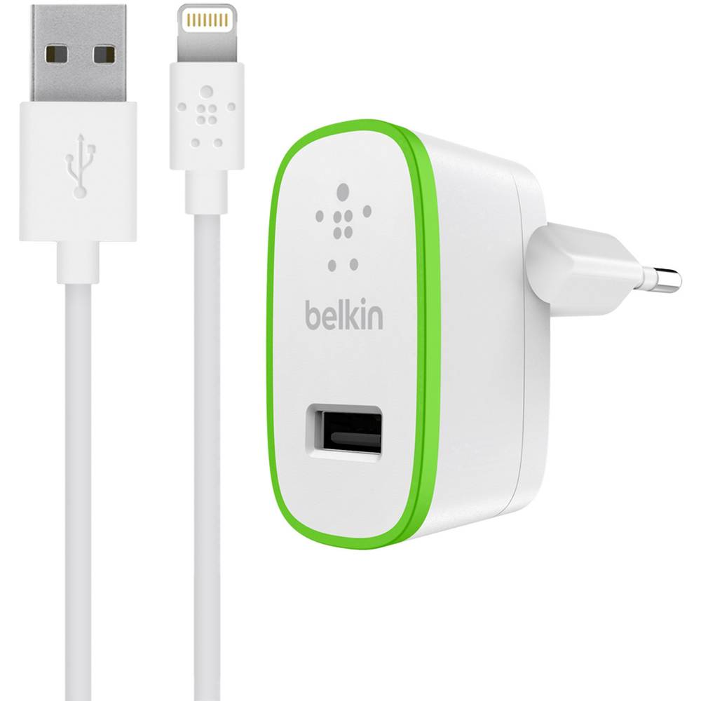 IPad/iPhone/iPod-oplader Belkin F8J125vf04-WHT F8J125vf04-WHT Stikdåse Udgangsstrøm max. 2400 mA 1 x USB (value.1390762), Apple