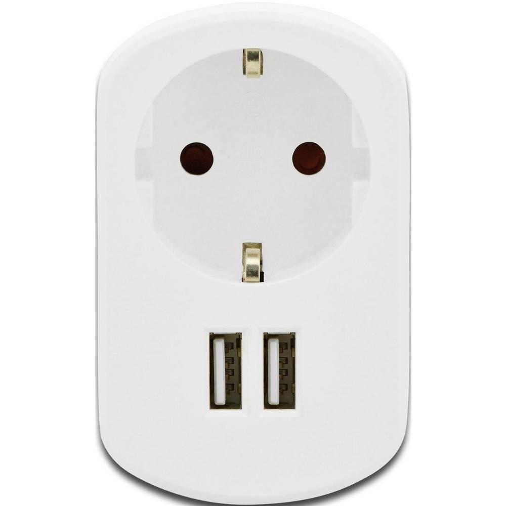 USB-oplader ednet 31804 31804 Stikdåse Udgangsstrøm max. 2100 mA 2 x USB (value.1390762), Schutzkontakt-Steckdose (value.1391238