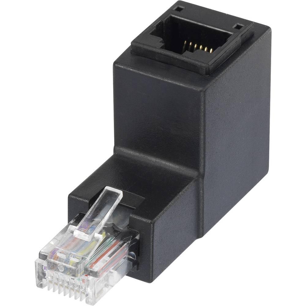 RJ45 Omrežni adapter CAT 5e pod kotom 90° navzgor [1x RJ45 vtič - 1x RJ45 vtičnica] 0 m črne barve, Renkforce