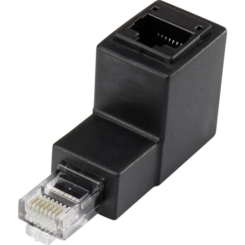 RJ45 Omrežni adapter CAT 5e 90° zakrivljen navzdol [1x RJ45-vtič - 1x RJ45-vtičnica] 0 m črn Renkforce