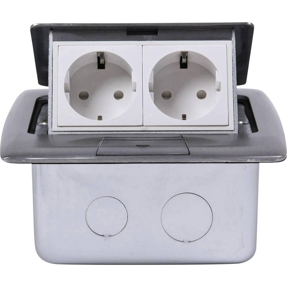 Heitronic 40462 2 kratni podnožje za vgradno vtičnico ip20 srebrna