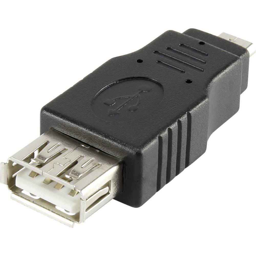 USB 2.0 adapter [1x USB 2.0 vtič Micro-B - 1x USB 2.0 vtičnica A] črn Renkforce