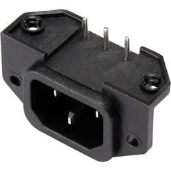 Utični konektor za hladne uređaje C14 utikač, horizontalna ugradnja, ukupan broj polova: 2 + PE 15 A crne boje 1 kom.
