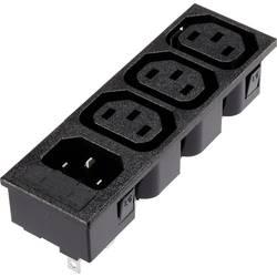 IEC-kontakt Hona inbyggd vertikal, Kontakt hane inbyggd vertikal Antal poler: 2 + PE 10 A Svart 1 st