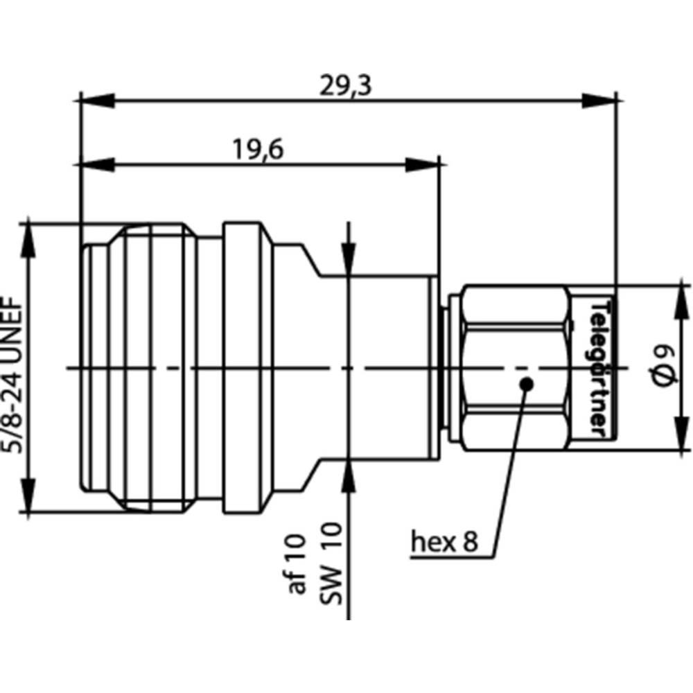 Koax-adapter N-Stecker (value.1390741) - SMA-Stecker (value.1390692) Telegärtner J01027T0019 1 stk