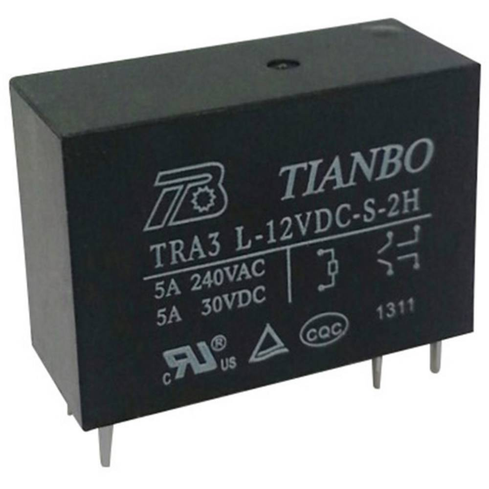 Printrelæ 12 V/DC 8 A 2 x sluttekontakt Tianbo Electronics TRA3 L-12VDC-S-2H 1 stk