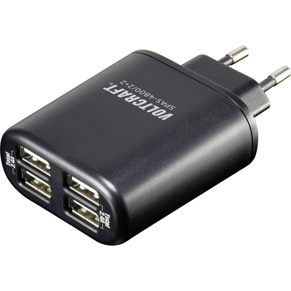 USB-oplader VOLTCRAFT SPAS-4800/2+2 SPAS-4800/2+2 Stikdåse Udgangsstrøm max. 4800 mA 4 x USB