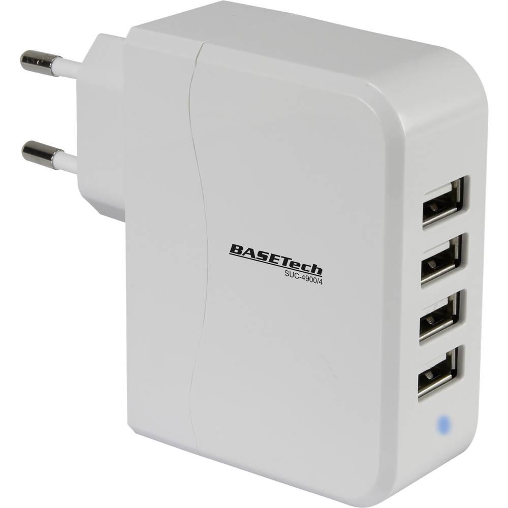 USB-oplader Basetech SUC-4900/4 SUC-4900/4 Stikdåse Udgangsstrøm max. 4900 mA 4 x USB (value.1390762)