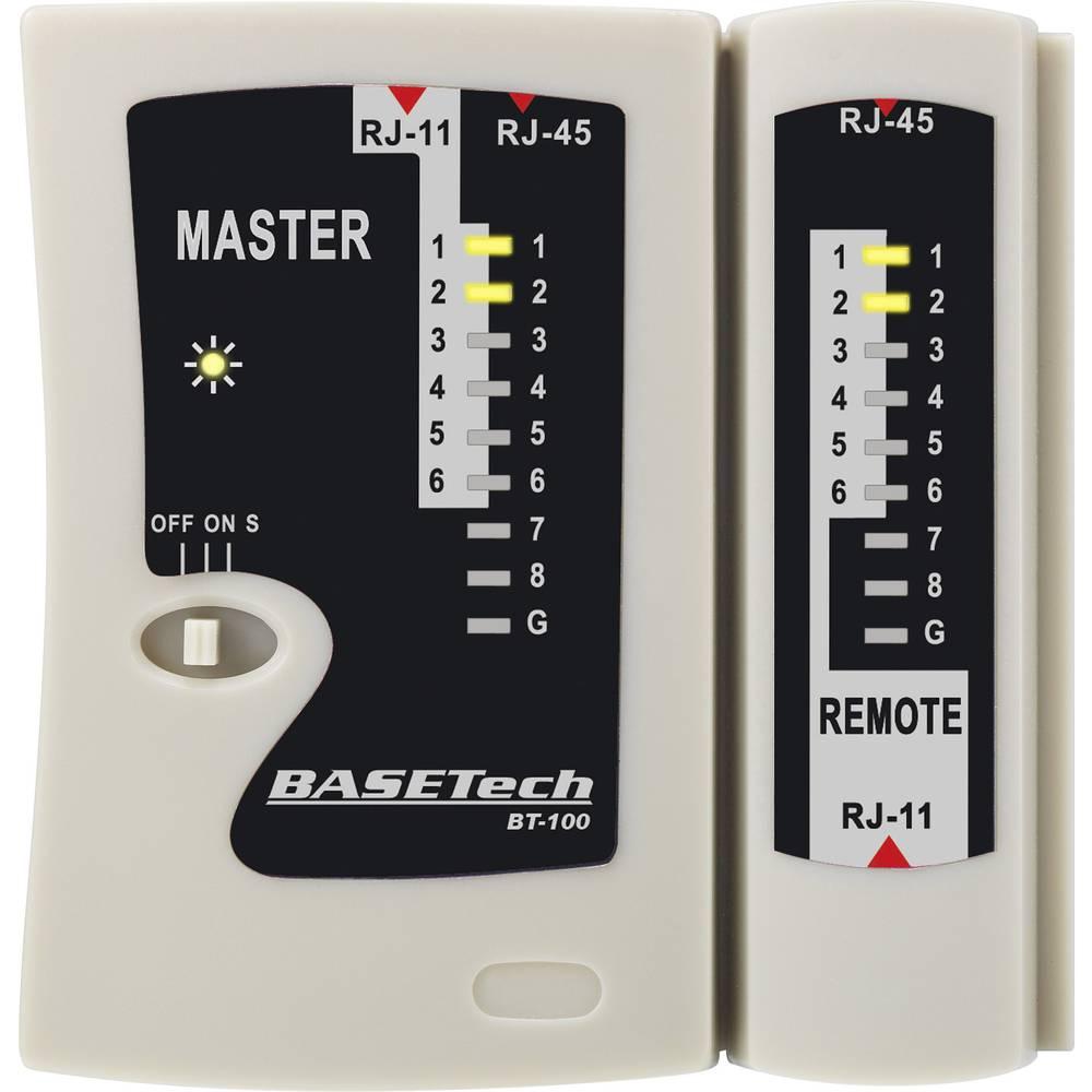 Basetech BT-100 Kabelski ispitivač, pogodan za za RJ-45, RJ-11