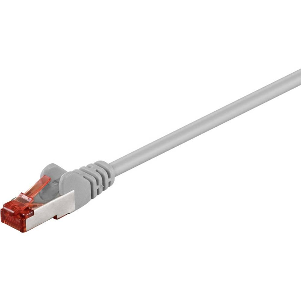 RJ45 omrežni priključni kabel CAT 6 S/FTP [1x RJ45-vtič - 1x RJ45-vtič] 0.15 m siv pozlačeni zatiči Goobay