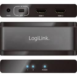 2 Port Mini DisplayPort-Splitter LogiLink Ultra HD-kapabel 3840 x 2160 pix Svart