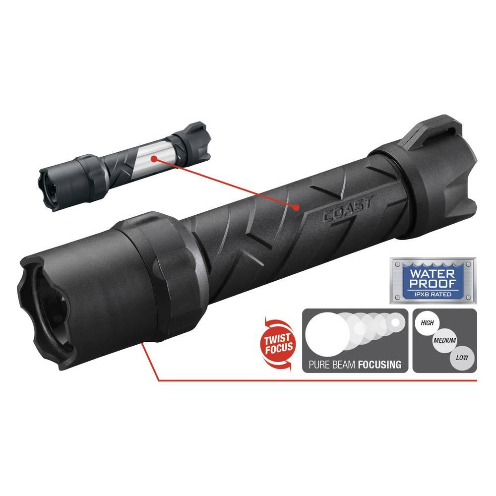 LED džepna svjetiljka Coast Polysteel 600 baterijsko napajanje 300 lm 340 g crna, siva