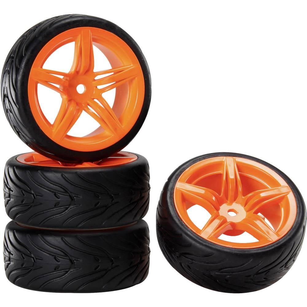 Reely 1:10 cestni model, komplet koles Devil 12F oranžna 4 kos