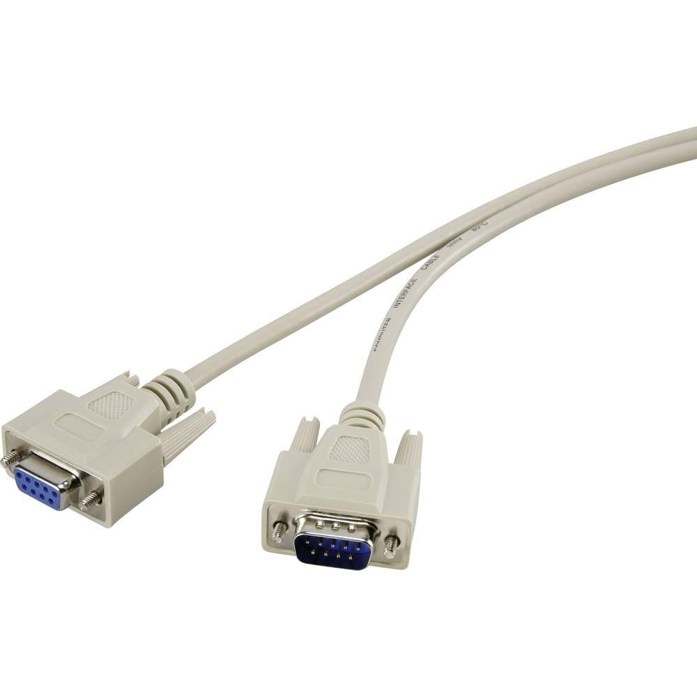 Serijski podaljševalni kabel [1x D-SUB-vtič 9pol. - 1x D-SUB-vtičnica 9pol.] 2 m bež Renkforce