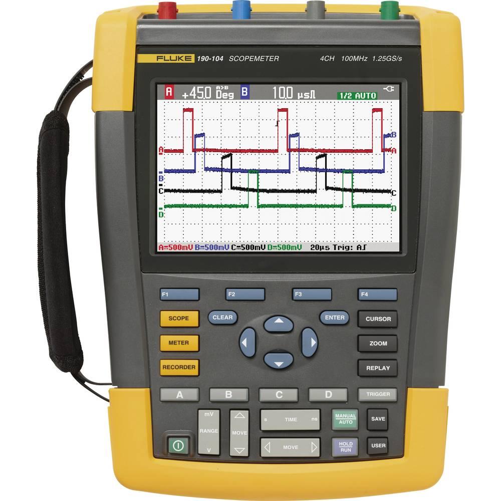 Ročni osciloskop (Scope-Meter) Fluke 190-104/UN 100 MHz 4-kanalni, ročna naprava, digitalni pomnilnik (DSO), multi-meterska funk