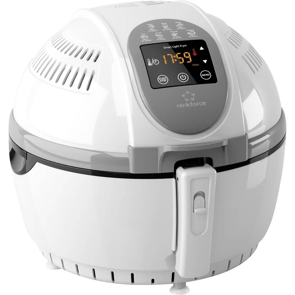 Friteza na vroč zrak Renkforce ZD1406, 1.400 W, s prikazovalnikom in funkcijo timerja, bela