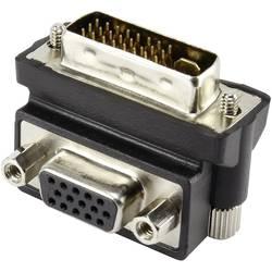 DVI / VGA adapter [1x DVI utikač 24+5pol. - 1x VGA utičnica] pod kutom od 90°, crni Renkforce