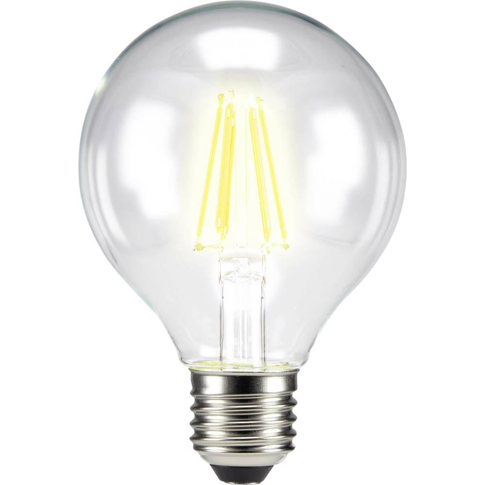 LED žarnica E27 okrogla oblika 6 W = 60 W topla bela (premer x D) 80 mm x 115 mm EEK: A++ Sygonix filament 1 kos