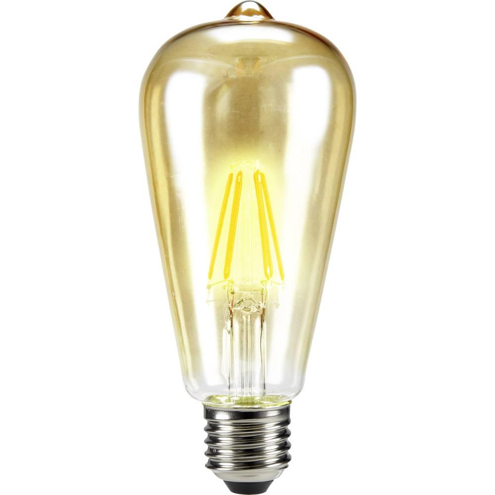 LED žarnica E27 cilindrična oblika 6 W = 55 W topla bela (premer x D) 64 mm x 143 mm EEK: A++ Sygonix filament 1 kos