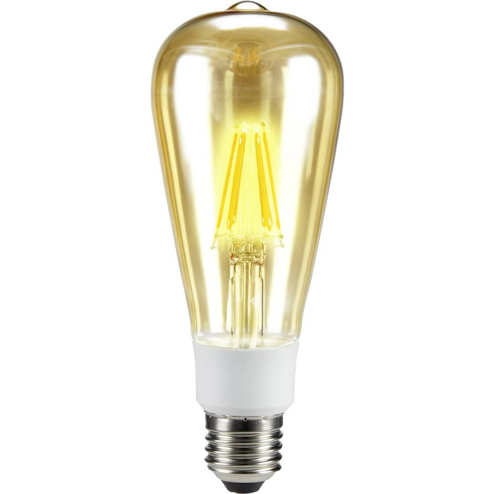 LED žarulja (jednobojna) 164 mm sygonix 230 V E27 7 W = 60 W toplo bijela KEU: A++ oblik klipa sa žarnom niti, prigušivanje, sad