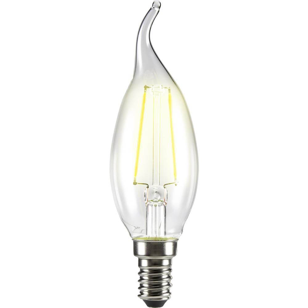 LED žarnica E14 oblika sveče zakrivljena konica 2 W = 25 W topla bela (premer x D) 35 mm x 120 mm EEK: A++ Sygonix filament 1 ko