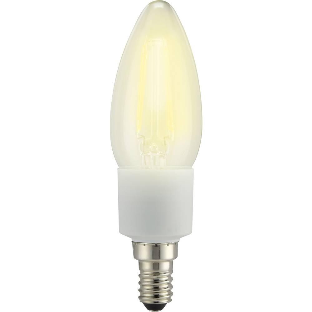 LED žarnica E14 oblika sveče 4.5 W = 40 W topla bela (premer x D) 35 mm x 117 mm EEK: A++ Sygonix filament, dimmbar 1 kos
