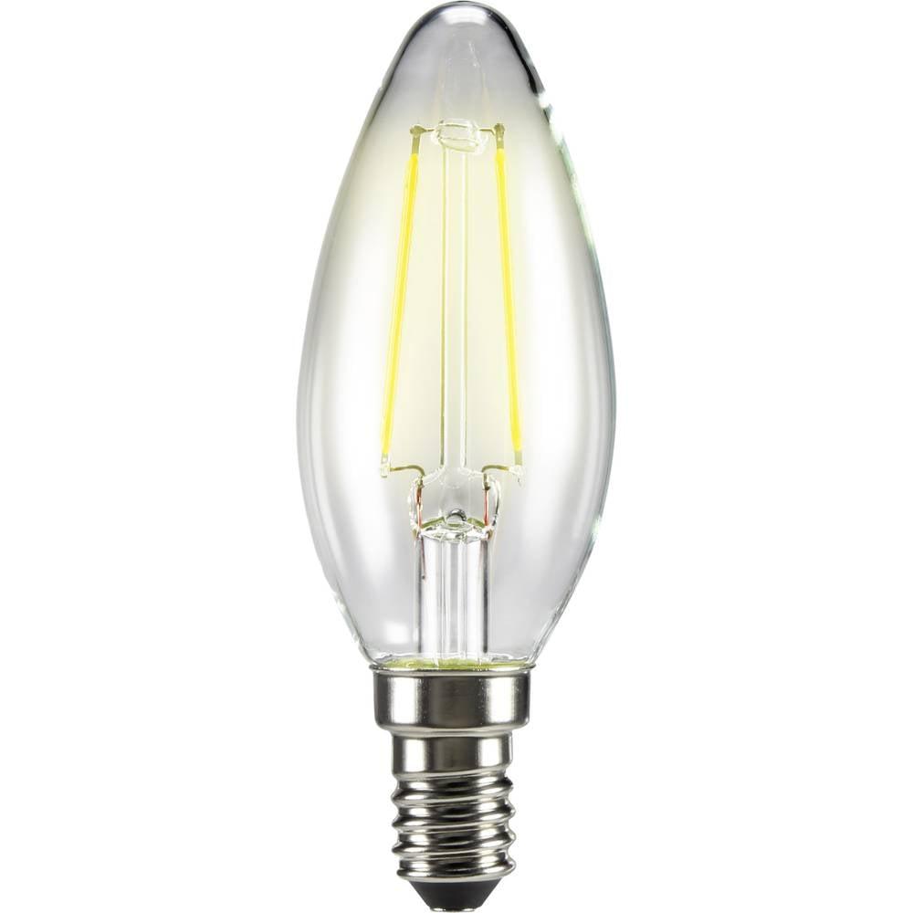 LED žarulja (jednobojna) 99 mm sygonix 230 V E14 2 W = 25 W toplo bijela KEU: A++ oblik svijeće sa žarnom niti, sadržaj 1 kom.