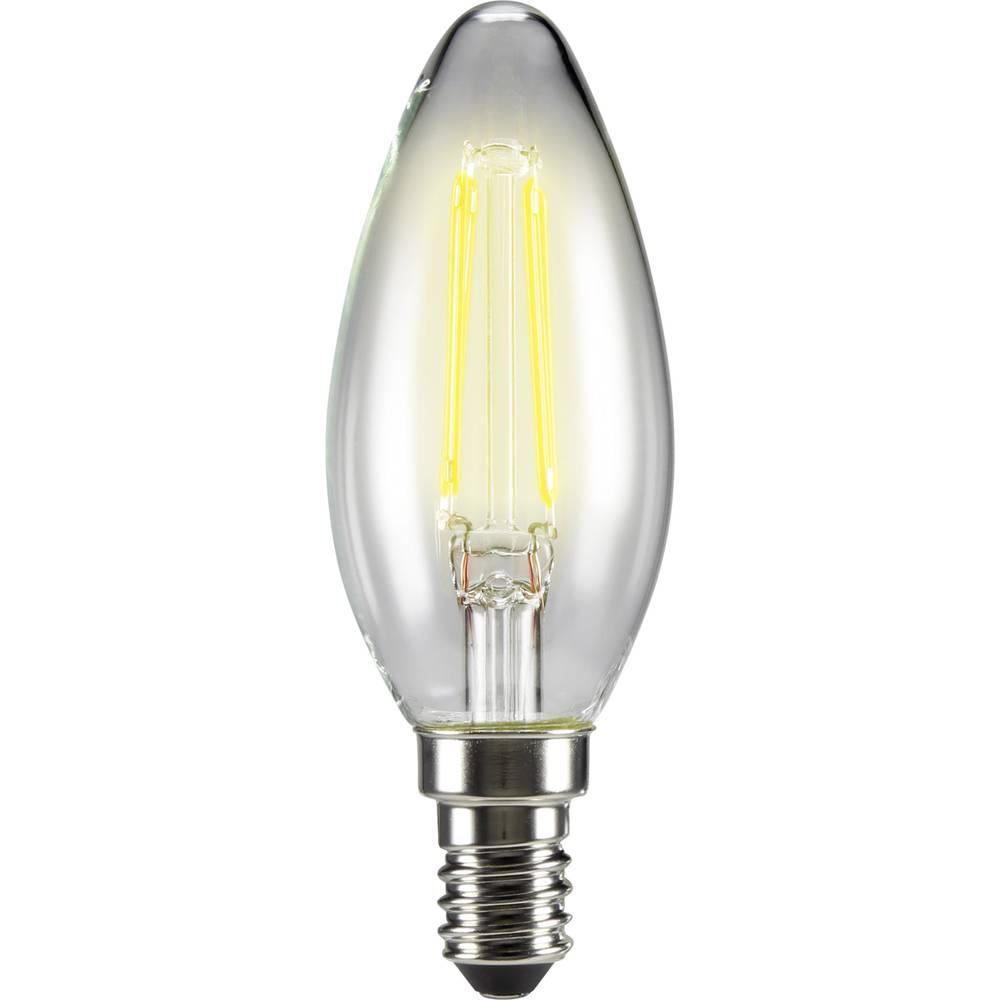 LED žarulja (jednobojna) 99 mm sygonix 230 V E14 4 W = 40 W toplo bijela KEU: A++ oblik svijeće sa žarnom niti, sadržaj 1 kom.
