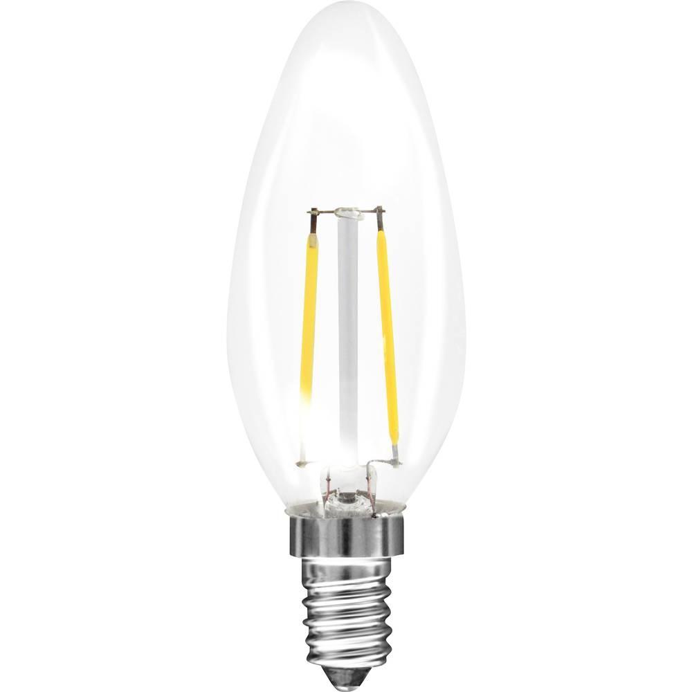 LED (eno-barvna) Müller luč 230 V E14 1.5 W = 15 W topla-bela EEK: A++ v obliki sveče (x D) 35 mm x 98 mm Filament 1 kos