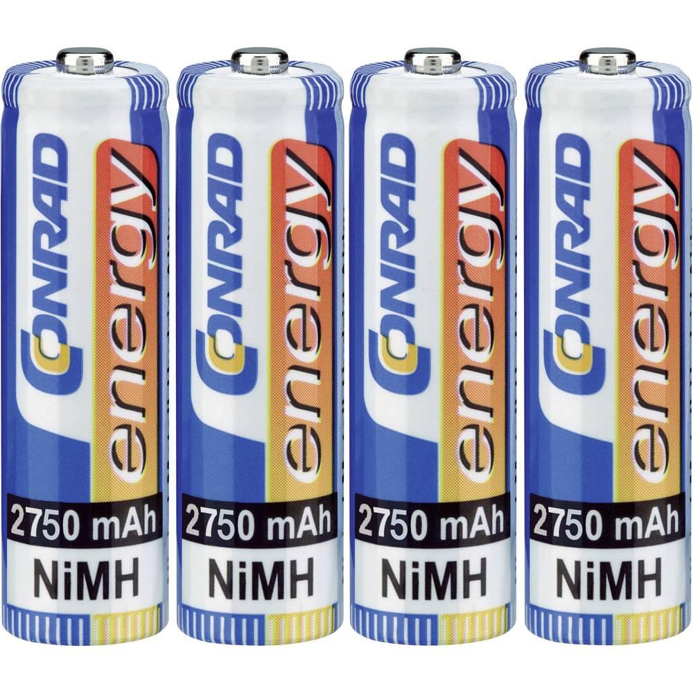 Mignon (AA)-akumulator NiMH Conrad energy HR06 2750 mAh 1.2 V 4 kosi