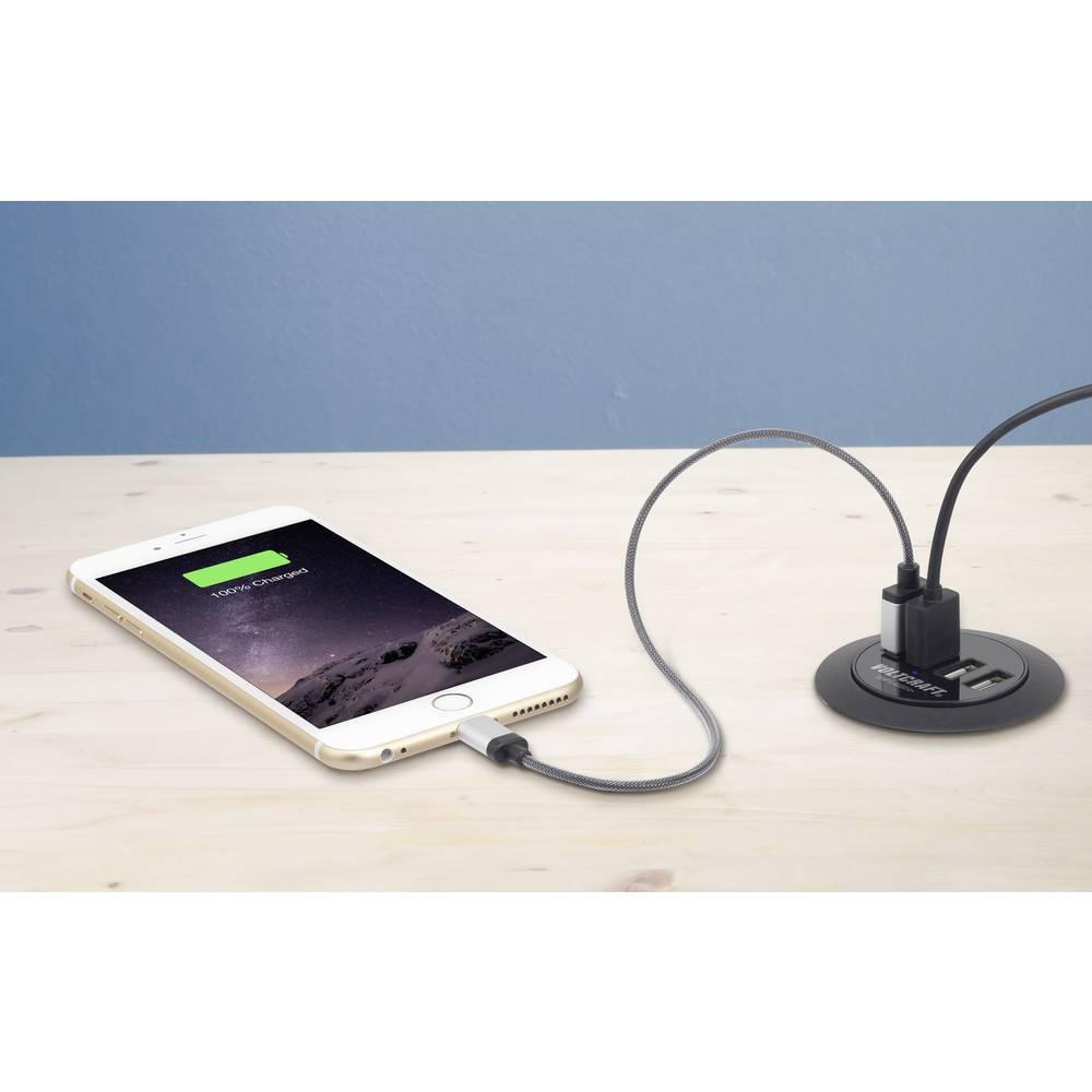 USB-oplader VOLTCRAFT DAPS-4000/4+ DAPS-4000/4+ Stikdåse Udgangsstrøm max. 6000 mA 4 x USB Møbelindbygning