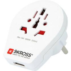 Potovalni adapter Skross 1.5002260 World na Evropo z USB priključkom, bele barve