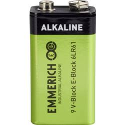 9 V blok-baterija, alkalij-manganova Emmerich Industrial 6LR61 9 V 1 kos