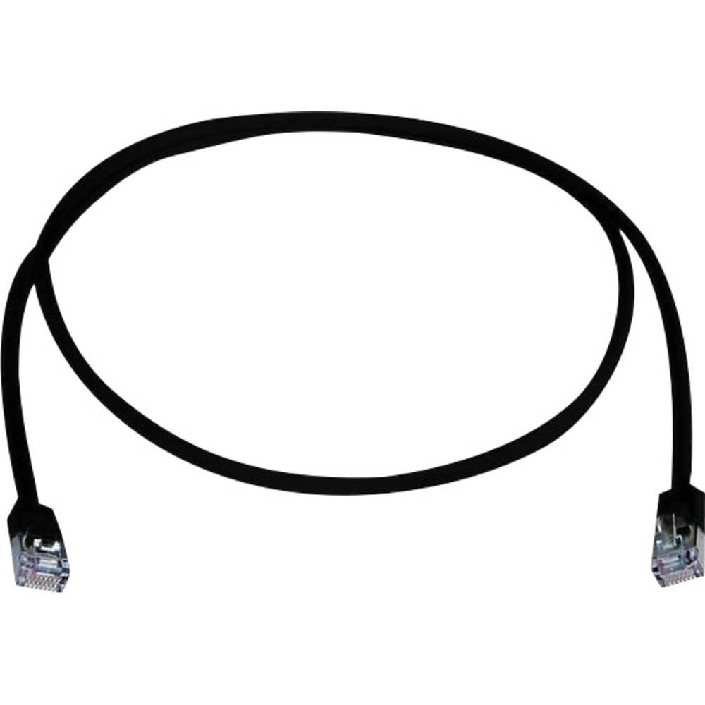 RJ45 omrežni priključni kabel CAT 5e F/UTP 0.25 m črne barve z zaščito pred gorenjem, brez halogena Telegärtner