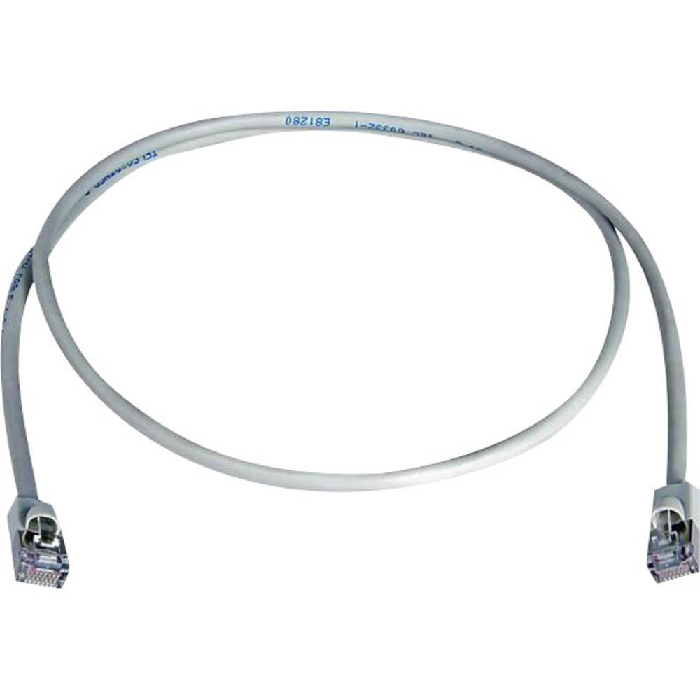 RJ45 omrežni priključni kabel CAT 5e F/UTP 2 m sive barve z zaščito pred gorenjem, brez halogena Telegärtner