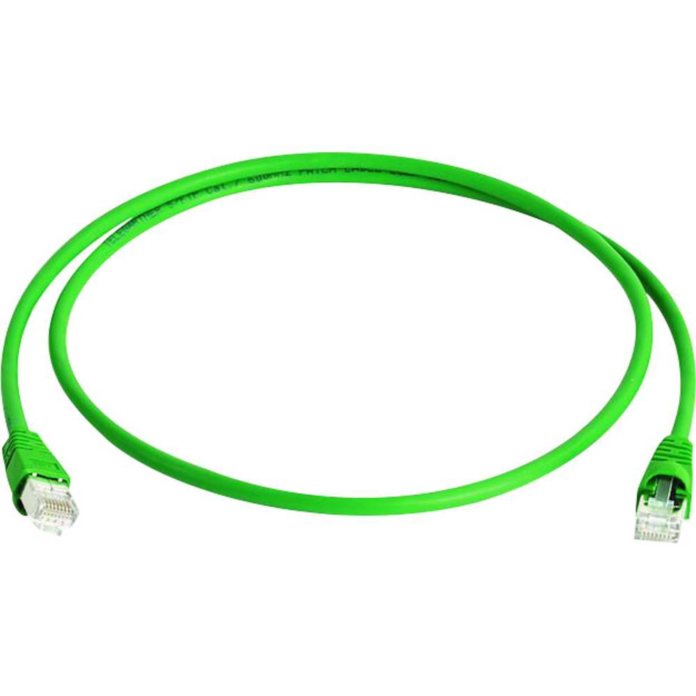 RJ45 omrežni priključni kabel CAT 6A S/FTP 0.25 m zelene barve z zaščito pred gorenjem, brez halogena Telegärtner