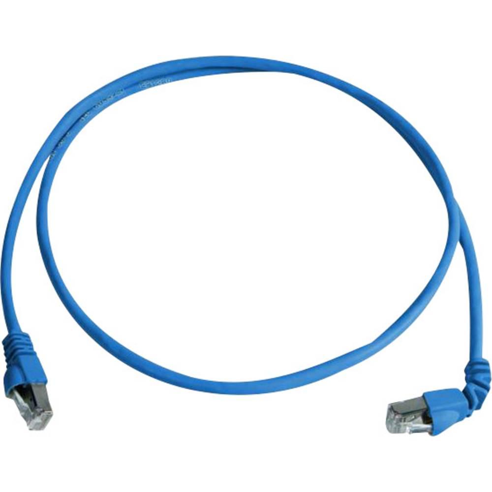 RJ45 omrežni priključni kabel CAT 6A S/FTP 1 m modre barve z zaščito pred gorenjem, brez halogena Telegärtner