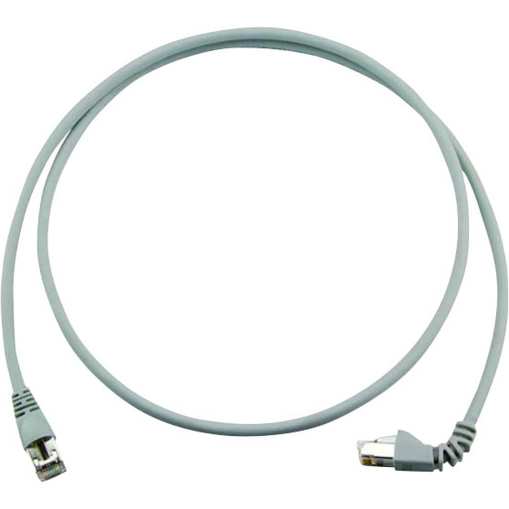 RJ45 omrežni priključni kabel CAT 6A S/FTP 2 m sive barve z zaščito pred gorenjem, brez halogena Telegärtner