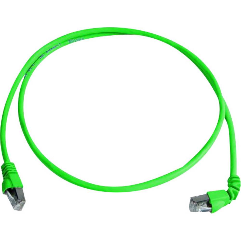 RJ45 omrežni priključni kabel CAT 6A S/FTP 2 m zelene barve z zaščito pred gorenjem, brez halogena Telegärtner