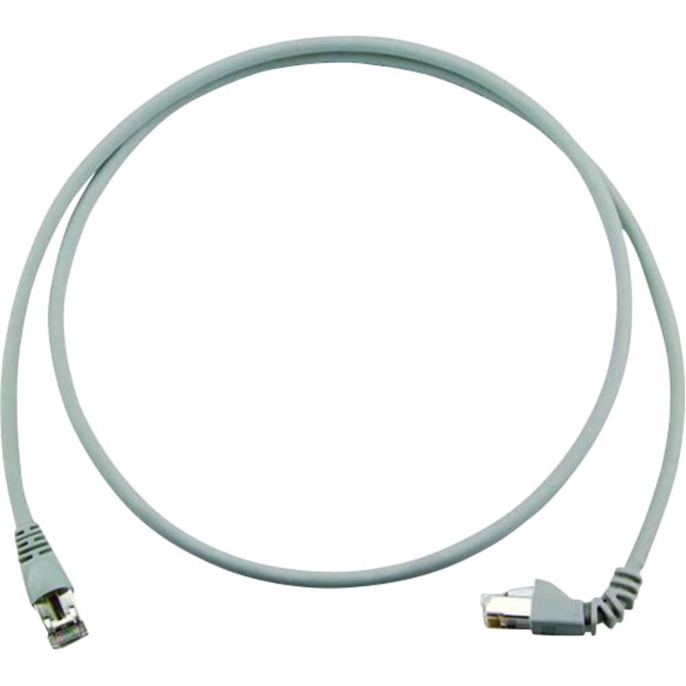 RJ45 omrežni priključni kabel CAT 6A S/FTP 5 m sive barve z zaščito pred gorenjem, brez halogena Telegärtner