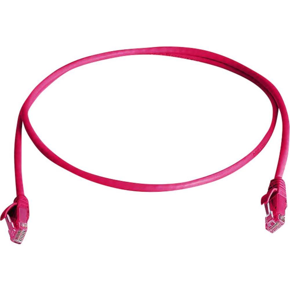 RJ45 omrežni priključni kabel CAT 5e U/UTP 0.50 m roza barve z zaščito pred gorenjem, brez halogena Telegärtner