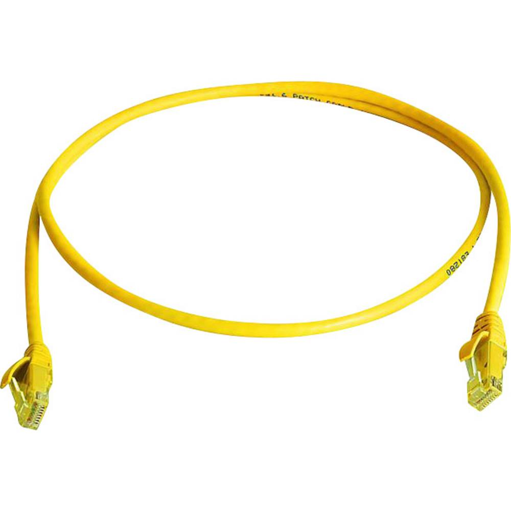 RJ45 omrežni priključni kabel CAT 5e U/UTP 1 m rumene barve z zaščito pred gorenjem, brez halogena Telegärtner